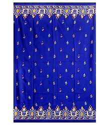 Royal Blue Silk Saree with Kantha Stitch