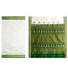 White Bomkai Orissa Silk Saree with All-Over Boota with Border and Gorgeous Pallu