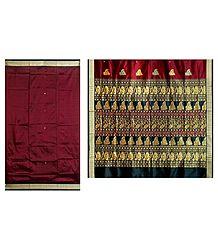 Buy Maroon Bomkai Orissa Silk Saree