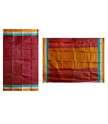 Red Bhagalpuri Silk Saree with Stripe Border