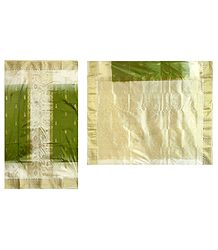 Ivory with Green Banarasi Ghicha Silk Saree with Zari Design