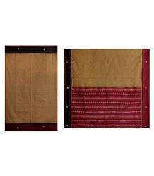 Embroidered Light Brown South Cotton Saree