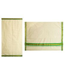 White Kerala Cotton Saree with Green Check and Border
