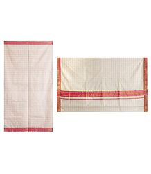 White Kerala Cotton Saree with Pink Check and Border