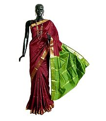 Maroon South Silk Saree with All-Over Zari Boota, Zari Border and Green Pallu
