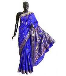 Royal Blue Swarnachari Silk Saree with All-Over Boota and Woven King and Queen Design on the Pallu