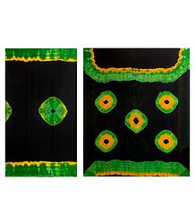 Bandhni Print on Black Synthetic Saree