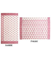 Off-White Tangail Saree with All-Over Red Woven Design