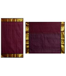 Maroon Bengal Tant Saree with Golden Border