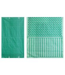 Cyan Green Tangail Saree with All Over White Boota
