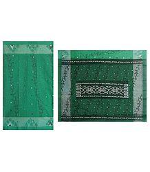 Cyan Green Tangail Saree with All Over Design