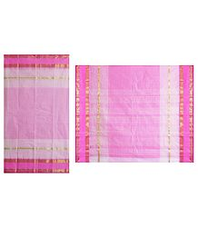 Pink with White Check Bengal Cotton Tant Saree
