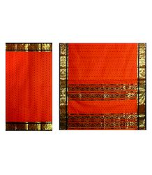 Saffron Cotton Tangail Saree with All Over Boota