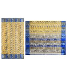 Weaved Design on Yellow Cotton Tangail Saree with Blue Border