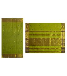 Green Tangail Saree with All-Over Boota and Zari Border