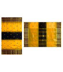 Yellow Tangail Saree with Black Border