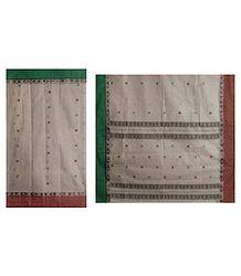 Sandalwood Color Tangail Saree with All-Over Boota