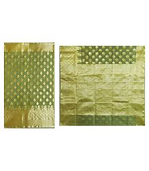 Light Green with Golden Tissue Saree with Border and Pallu