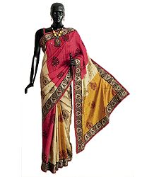 Yellow, Red and Beige Combination Tussar Silk Saree with Hand Painted Motifs All-Over and Zari Embrioidery on Border and Pallu