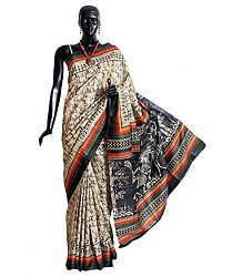 Light Beige Tussar Silk Saree with Black Warli Print All-Over