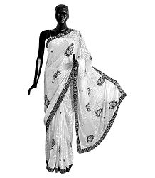 Embroidered White Georgette Brasso Saree with Black Border and Pallu