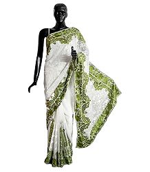 Parsi Embroidered White Georgette Brasso Saree with Green Border and Pallu