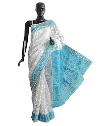 White Weaved Design All-Over on White Cotton Dhakai Saree with Cyan Design Border and Pallu
