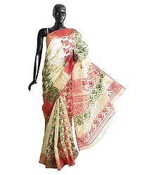 Red, Green and Zari Weaved Design All-Over on Beige Cotton Dhakai Saree with Border and Pallu