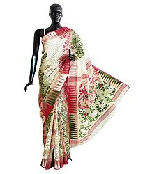 Off-White Dhakai Jamdani Saree with Red, Green and Zari Weaved Design All-Over
