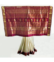 White South Silk Saree with Maroon and Golden Zari Work Border and Pallu