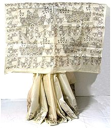 White Tussar Silk Saree with Kantha Stitch Embroidery