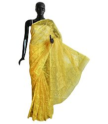Weaved Yellow Design All-Over on Yellow Cotton Dhakai Saree with Border and Pallu