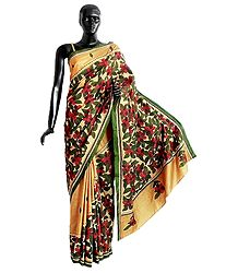 Appliqued Pure Silk Saree with Kantha Stitch