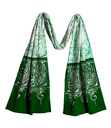 White with Green Cotton Batik Scarf