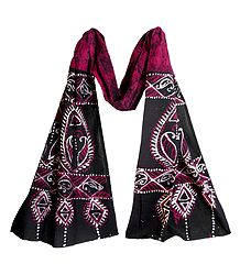 Black and White Batik on Kumkum Red Cotton Scarf