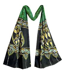 Green Cotton Batik Scarf