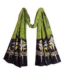 Buy Light Green Cotton Batik Scarf