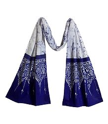 White with Blue Batik Cotton Scarf
