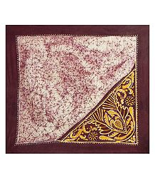 Maroon, Yellow and White Cotton Batik Head Scarf