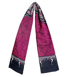 Dark Magenta Cotton Batik Scarf