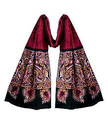 Buy Online Dark Red Cotton Batik Scarf
