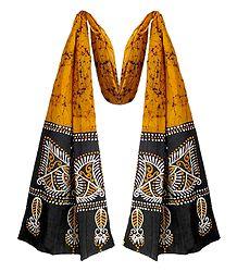 Yellow Cotton Batik Scarf