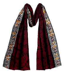Batik on Dark Red Cotton Scarf