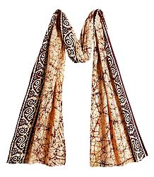 Batik on Off-White Cotton Scarf