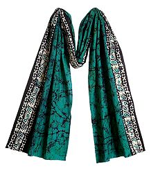 Batik on Dark Cyan Cotton Scarf