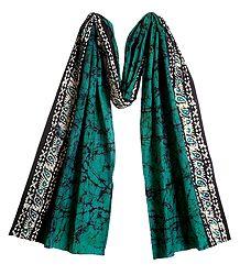 Batik on Dark Cyan Cotton Scarf