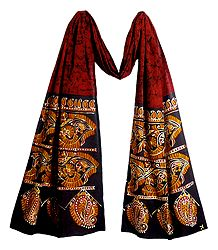 Batik on Red Cotton Scarf