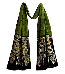 Batik on Green Cotton Scarf