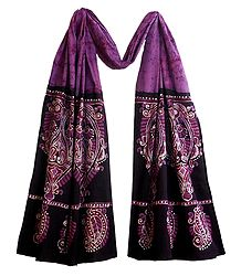 Batik on Mauve Cotton Scarf