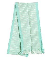 Light Cyan and White Hand Knitted Woollen Muffler